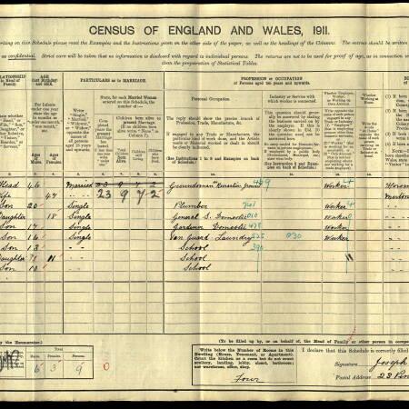 F Lambert 1911 census Pincott Road