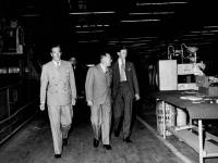 Politicians visit an unidentified Merton Factory