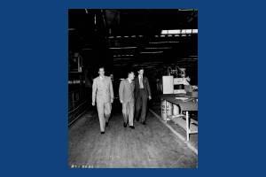 Politicians visit an unidentified Merton Factory