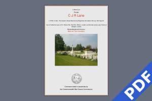 C Lane Memorial Certificate
