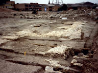 Merton Priory Excavations, looking N.E towards Station Road