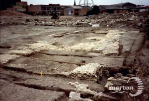 Merton Priory Excavations, looking N.E towards Station Road