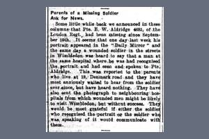 Newspaper Extract - Ernest William Aldridge