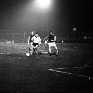 Brian Owen trying to evade Bobby Moore and Tommy Taylor, Hereford United v West Ham, Feb 1972.