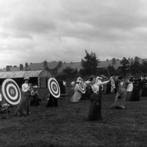 G36-359-10 Ladies archery on Parade Green, The Barracks, Harold Street.jpg