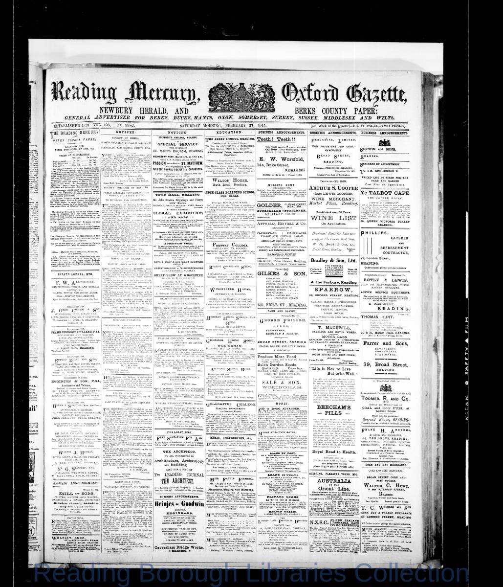 Reading Mercury Oxford Gazette Saturday, February 27, 1915. Pg 1