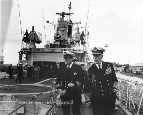 Admiral of the fleet, Earl Mountbatten of Burma onboard HMS Eurylaus