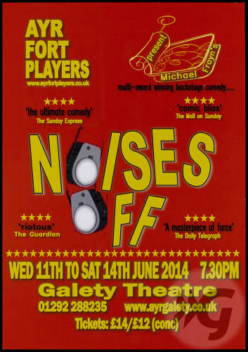 Flyer - Noises Off - 2014 - Ayr Fort Players