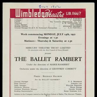 Wimbledon Theatre, July 1952