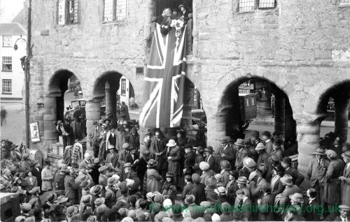 Gathering at Market House, Ross-on-Wye - possibly Empire Day or coronation