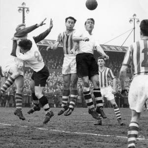A goalmouth tussle at Edgar Street, 1950s.
