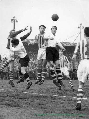 A goalmouth tussle at Edgar Street, 1950s.