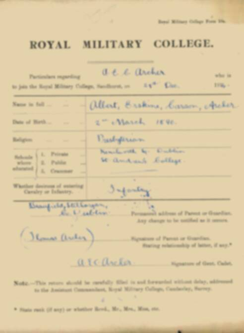 RMC Form 18A Personal Detail Sheets Jan 1915 Intake - page 5