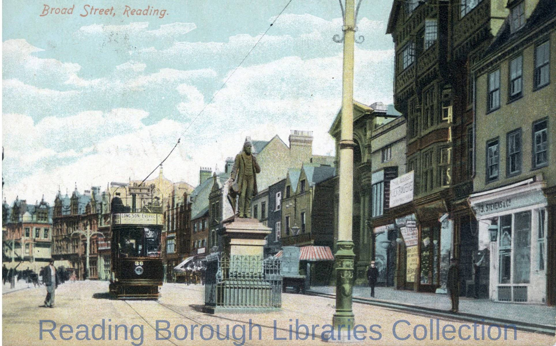 Broad Street, Reading, looking westwards, c1905. An electric tramcar heads westwards past the statue of George Palmer