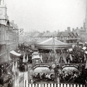 Rides at the May Fair, looking towards the Old House, High Street, Hereford, c.1895
