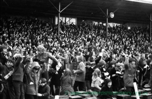 Fans celebrating - Hereford United v Newcastle, Feb 1972.