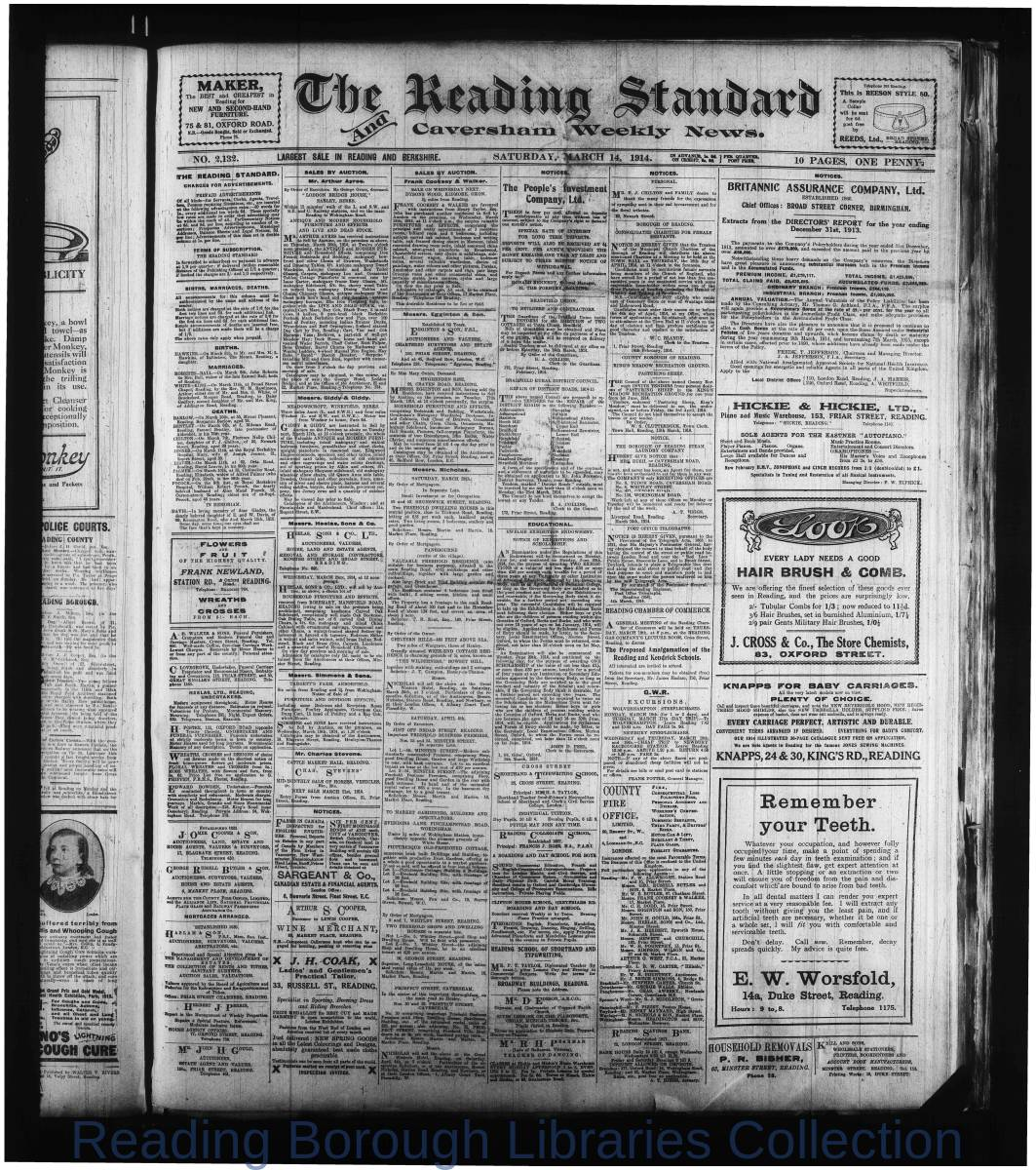Reading Standard, Saturday, March 14, 1914. Pg 1