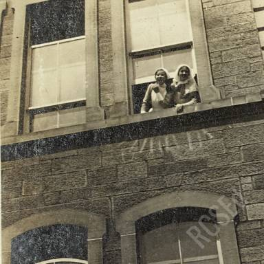 Nurses N. Semple and S. Magdougal Looking out Window