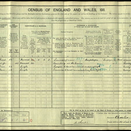 1911 Census - 22 West Place, Wimbledon Common