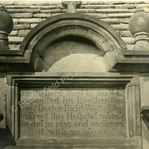 Elliot Lane Almshouses, plaque.