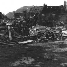 Bomb damage in Fort and Palatine Street