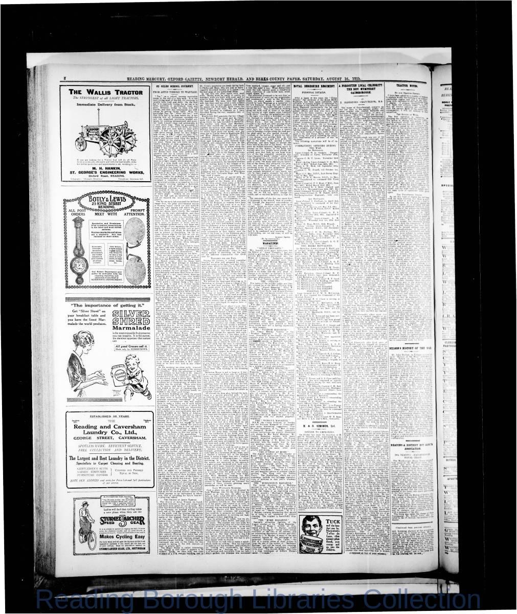 Reading Mercury Oxford Gazette Saturday, August 16, 1919.  Pg 4