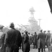 "The Battleship ""Barham"" at Liverpool landing stage"