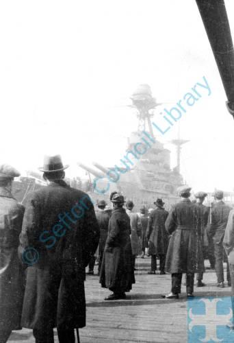"The Battleship ""Barham"" at Liverpool landing stage"