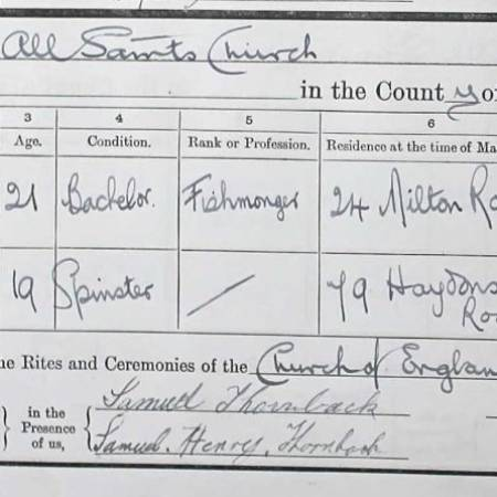 Marriage Certificate - Ernest Hewer