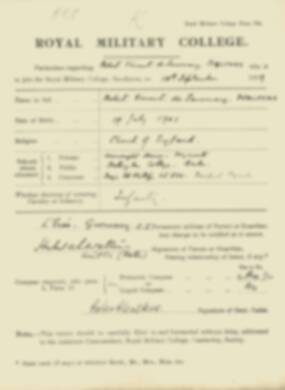 Robert Walters -  RMC Form 18A Personal Detail Sheets Jan & Sept 1920 Intake