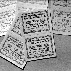 Miscellaneous postage labels.