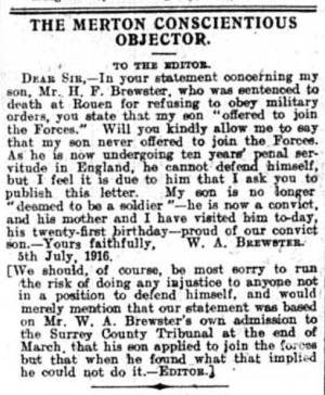 Newspaper Extract - Harold Brewster