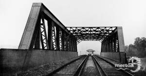 Lattice Girder Bridge over London to Worthing Road:  South Morden Station in background.