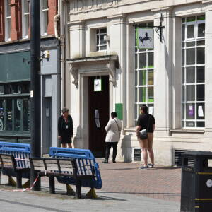 Social distancing queue, High Town, Hereford, 4 May 2020