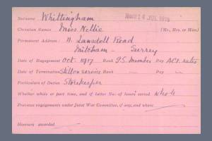VAD Index Card (Page 1) for Nellie Whittingham