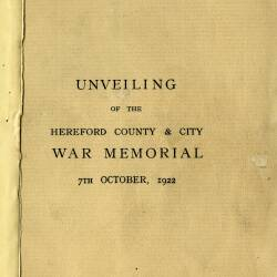 Unveiling of the Hereford County and City War Memorial - 7th October 1922