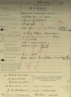 RMC Form 18A Personal Detail Sheets Aug 1934 Intake