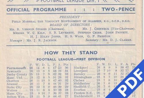 19490122 Official Programme West Ham United Home FCC