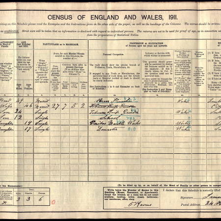1911 Census for 24 Blackshaw Road, Tooting