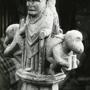 Carved bench end, Canon Pyon church, 1902
