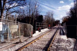 Tramlink, near Morden Hall Park, looking towards Phipps Bridge