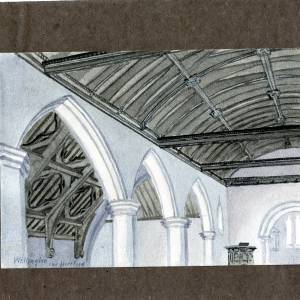 Wellington Church, Herefordshire, interior, print