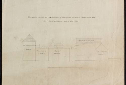 Elevation of library and lecture room and Rev Canon Heberdens house and stable