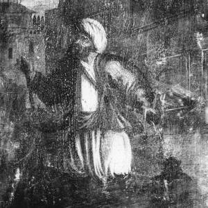 G36-209-10 Painting of Oriental figure wearing a turban, baggy trousers, loose coat.jpg