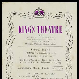 King's Theatre, Hammersmith, London, October 1949