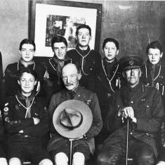 Baden Powell with Scouts