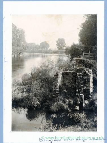 Ballingham, ruins of old bridge on towpath, 1882