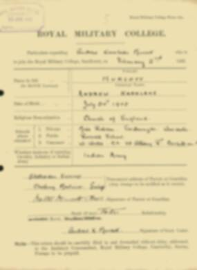 RMC Form 18A Personal Detail Sheets Feb & Sept 1922 Intake - page 106