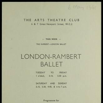 Arts Theatre Club, London, May 1941