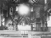 Interior of the Old Catholic Chapel, Mitcham,  decorated for Christmas